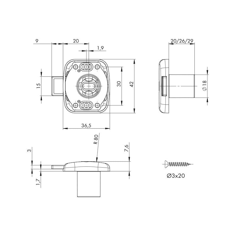 Aufschraubschloss MS 5000 - MS5000-AUFSHRBSHLO-ZD-(NI)-D20-TS19