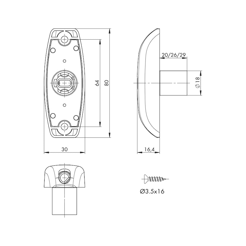 Drehstangenschloss MS 5000 - MS5000-SHLO-DRHSTG-ZD-(NI)-TS25MM