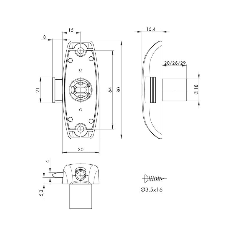 Drehstangenschloss MS 5000 - MS5000-SHLO-DRHSTG-ZD-(NI)-D15MM-TS19MM