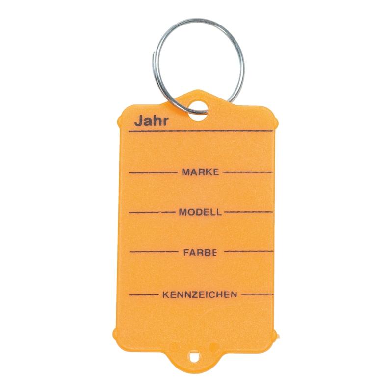 Schlüsselanhänger aus Hartkunststoff - SHSLANHAENG-HARTKST-RING-ORANGE-200STK