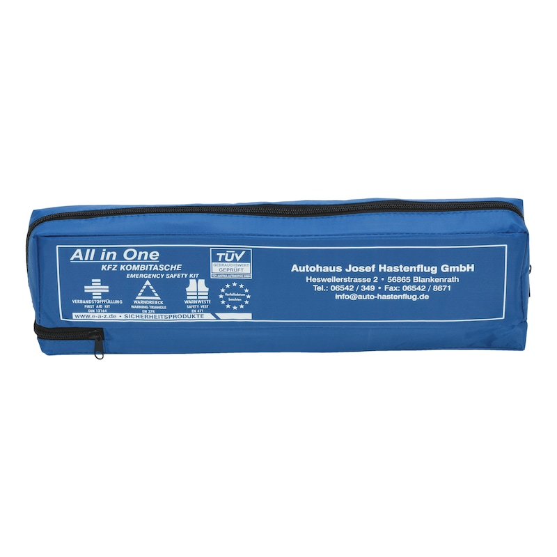 Printed car first aid bag, three pieces - 1STAIDBG-BLUE-3PCS-INDIVIDUALIZED