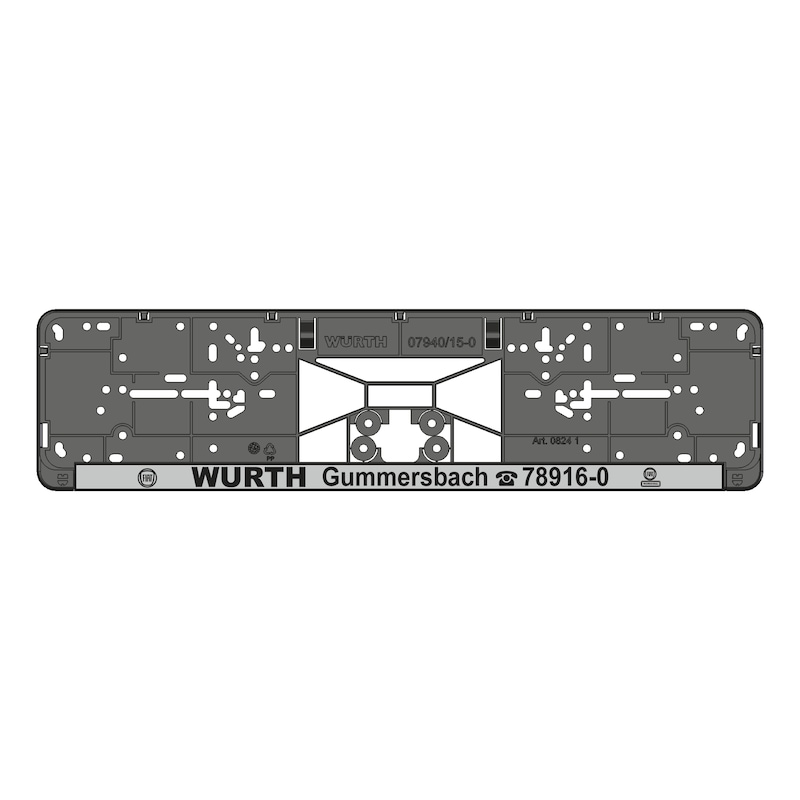 Kennzeichenbefestigung Clipster komplett bedruckt - KSB-KOMPL-PL/LST-SILBR-NEG-CLIPSTER-520