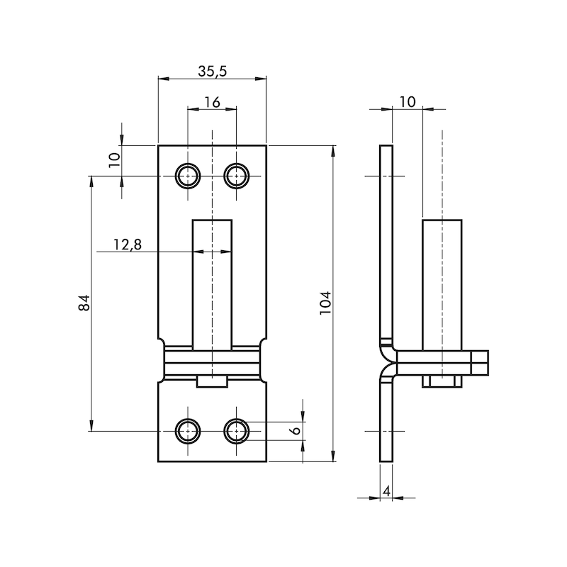 Kloben - TRKLOB-1-ST-(ZN)-GELB-D13-104X36