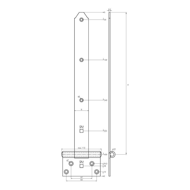 Kreuzgehänge schwer - KISTBA-KRZG-S-ST-(ZN)-GELB-400X39MM