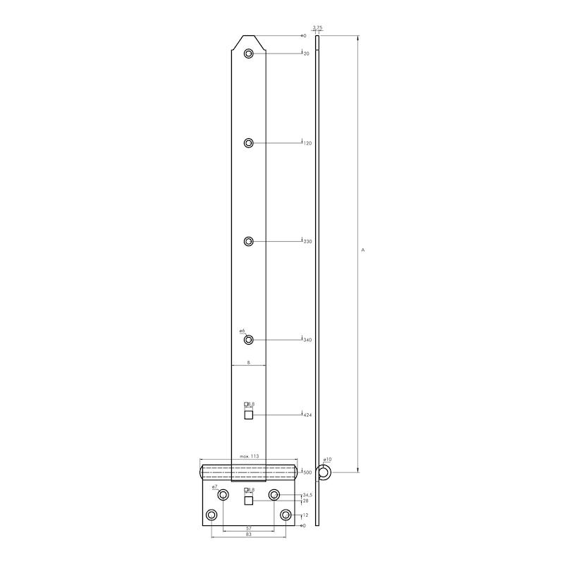 Kreuzgehänge schwer - KISTBA-KRZG-S-ST-(ZN)-GELB-500X39MM