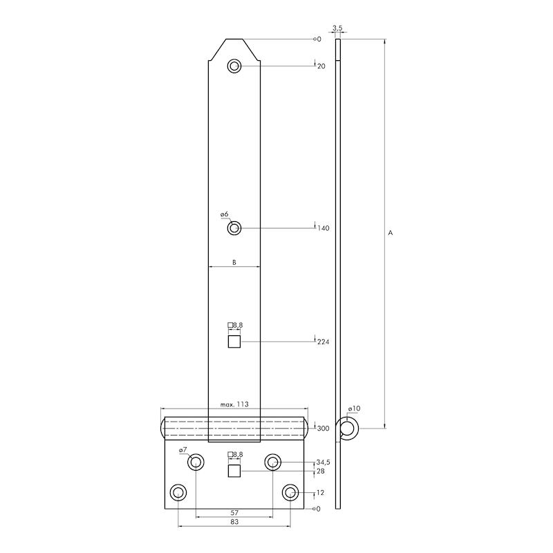 Kreuzgehänge schwer - KISTBA-KRZG-S-ST-(ZN)-BLAU-300X39MM