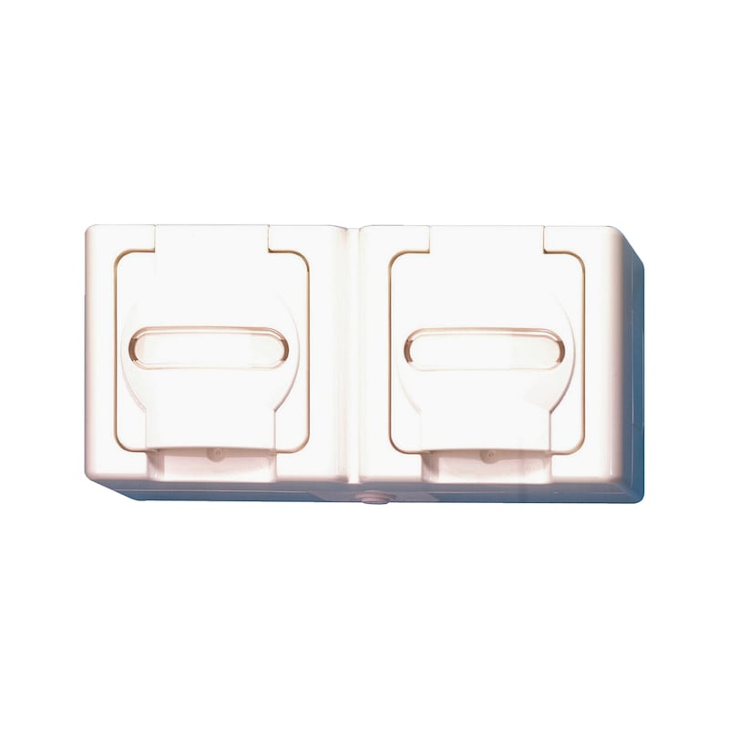 ELMO<SUP>®</SUP> AP-Feuchtraum Schutzkontakt-Steckdose - STEDO-AP-DP-WAAGERECHT-WEISS-16A-250V