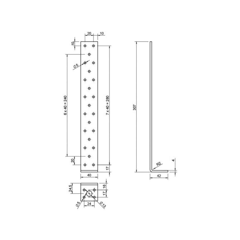 Betonflachstahlanker - BETFLSTANK-40X40X300X4,0