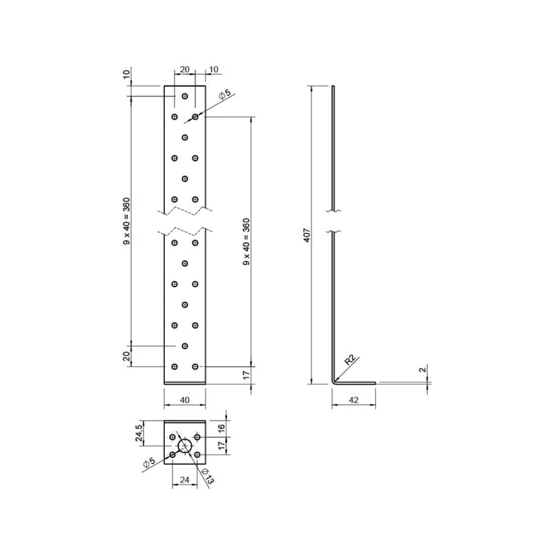 Betonflachstahlanker - BETFLSTANK-40X40X400X2,0