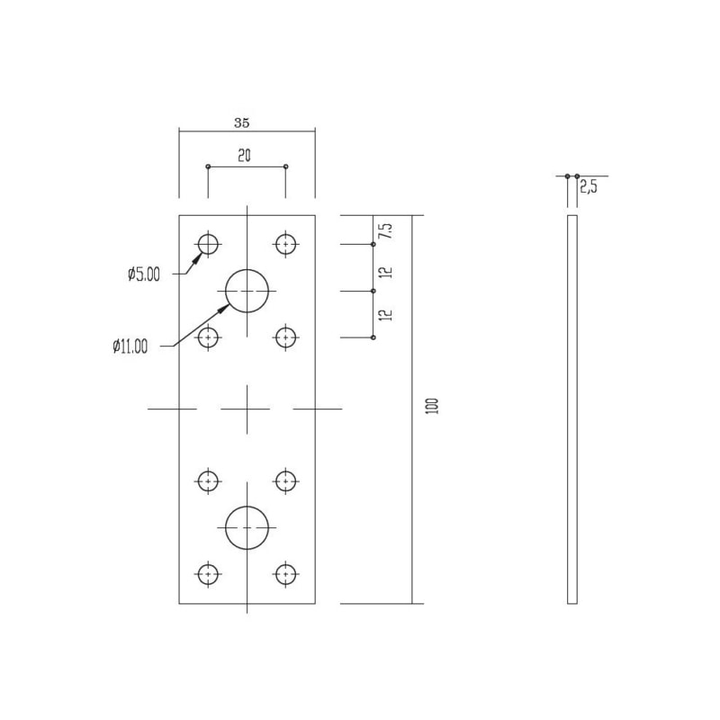 Schwerer Flachverbinder - FLVERB-100X35X2,5
