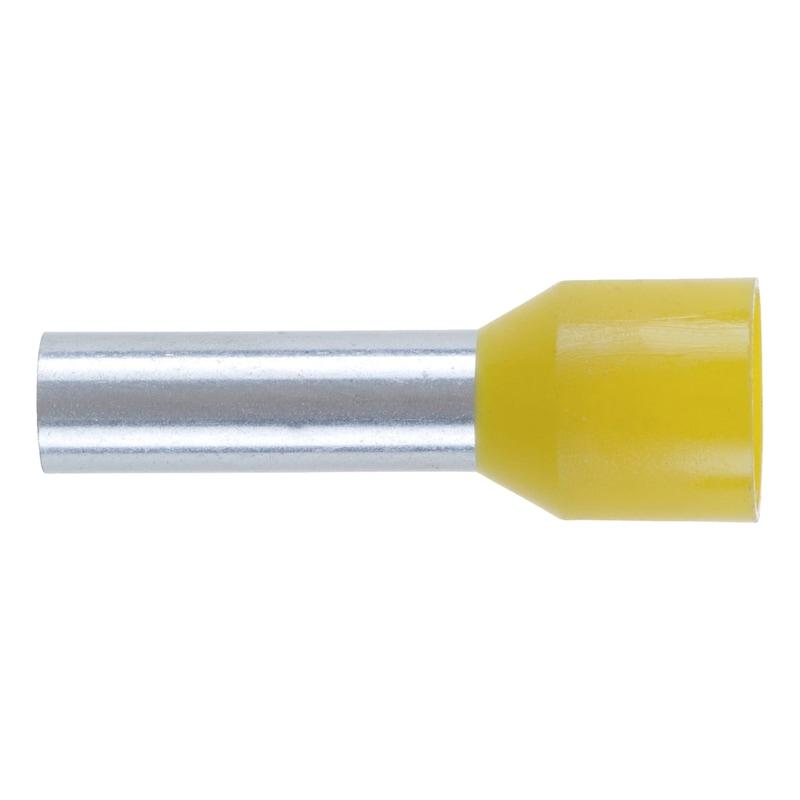 Wire end ferrule with plastic sleeve - WENDFER-DIN46228-CU-(J2N)-YEL-6,0X12,0