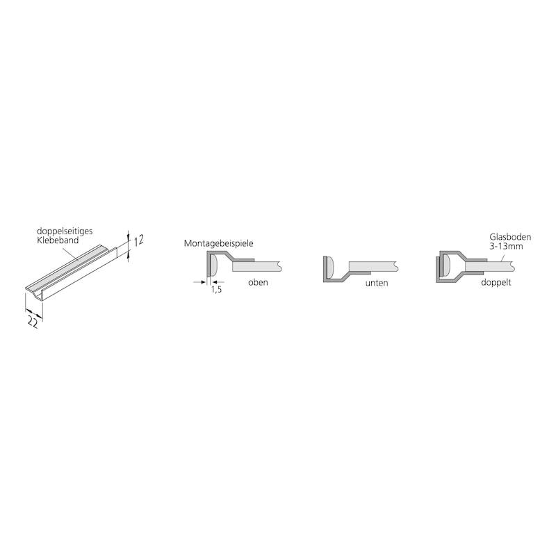 Glaskantenprofil für <br/>LED-Lichtbänder - ZB-GLASKANTENPRFL-LICHTBA-LED-ALU-860MM