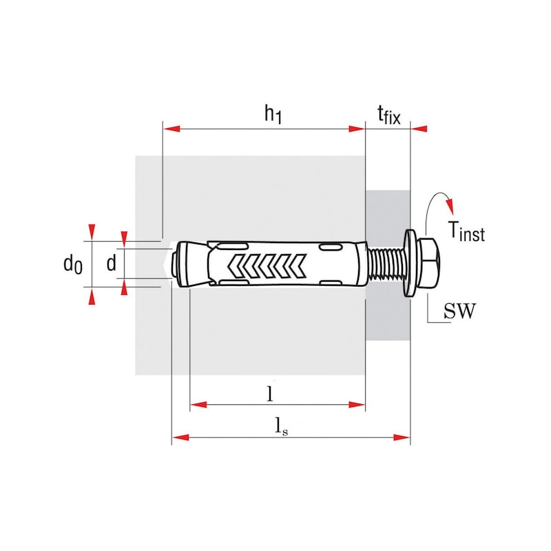 Masívna kotva W-TM, typ S  - KOTVA-(W-TM/S-S)-(A2K)-10-M6X45