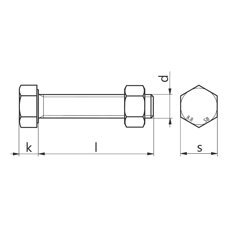 Boulon SB à filetage total acier zingué DIN EN 15048-1 - 2
