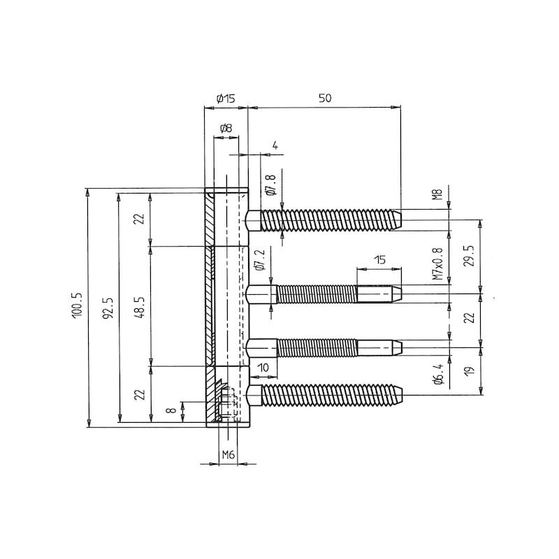 Einsteck-Einbohrband 3-teilig - 2