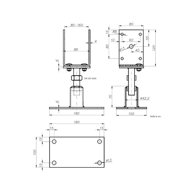 Pfostenträger D-G-H/TZN - PFOSTTRG-DBL-TZN-(GBL80-160)-(H110-155)