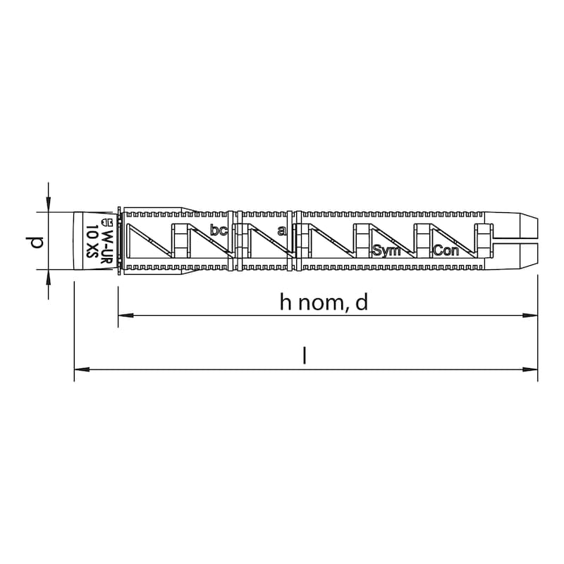 Kunststoff-Rahmendübel W-UR 10 XS - 1