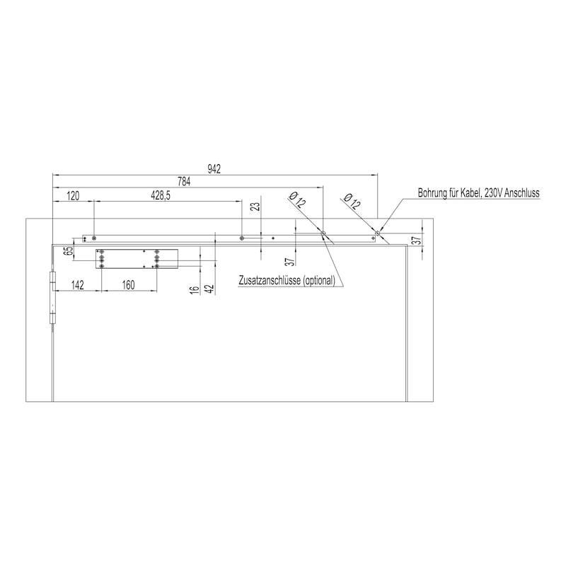 Elektromagnetische Feststellanlage Mit Gleitschienentürschließer GTS 690 mit integriertem Rauchmelder mit Netzgerät - 5