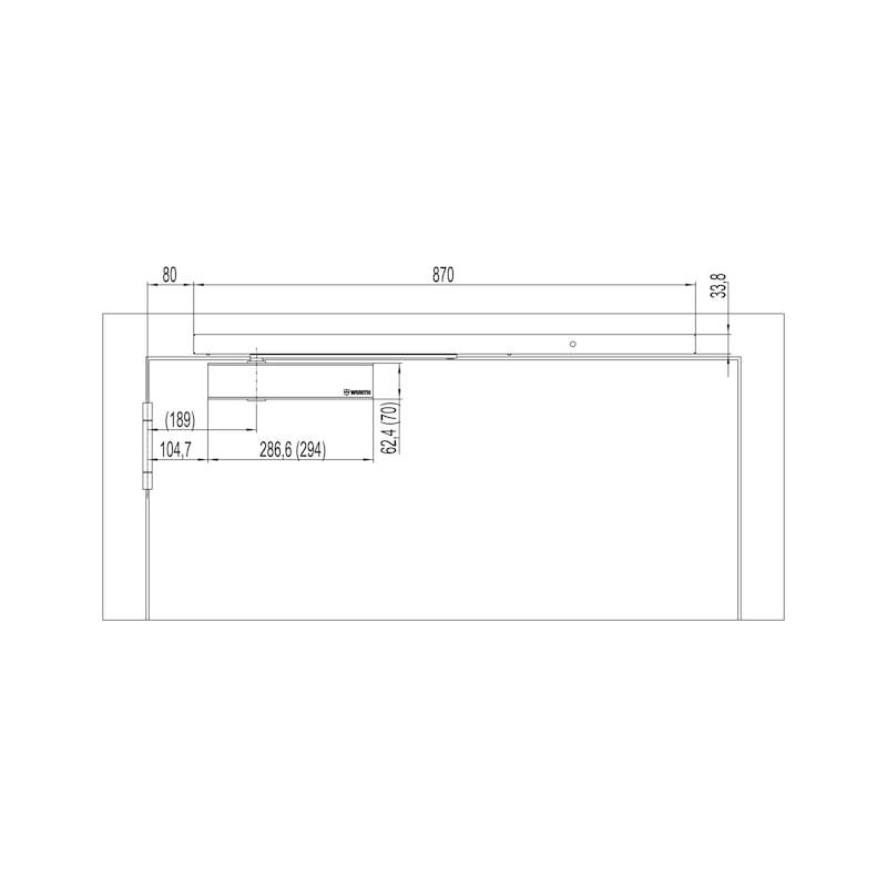 Elektromagnetische Feststellanlage Mit Gleitschienentürschließer GTS 690 mit integriertem Rauchmelder mit Netzgerät - 2