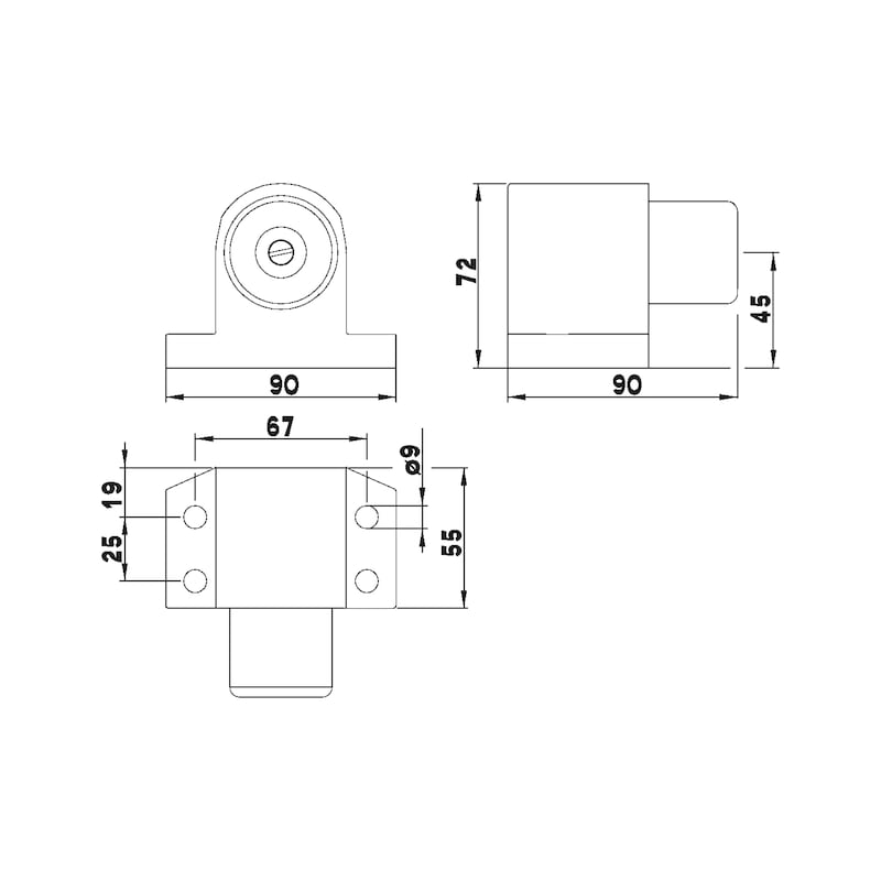 Türstopper Typ L - TRSTOPR-TYP-L-A2-MATT-GEBUERSTET