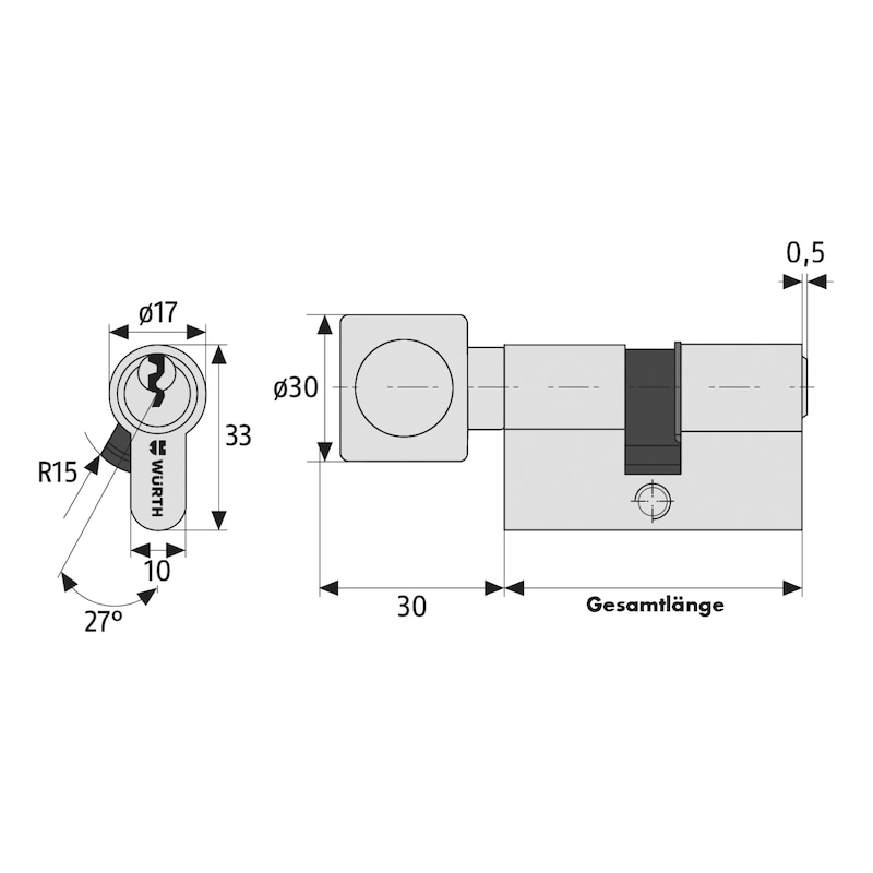 Profil-Knaufzylinder NP - PRFLZYL-NP-KN-6STI-GS1-(NI)-BS-45X45MM