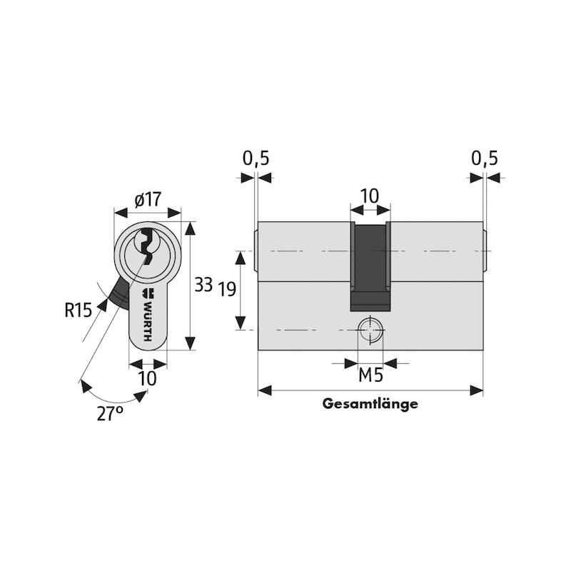 Profil-Kurzzylinder NP - PRFLZYL-NP-K-6STI-GS1-(NI)-28X28MM