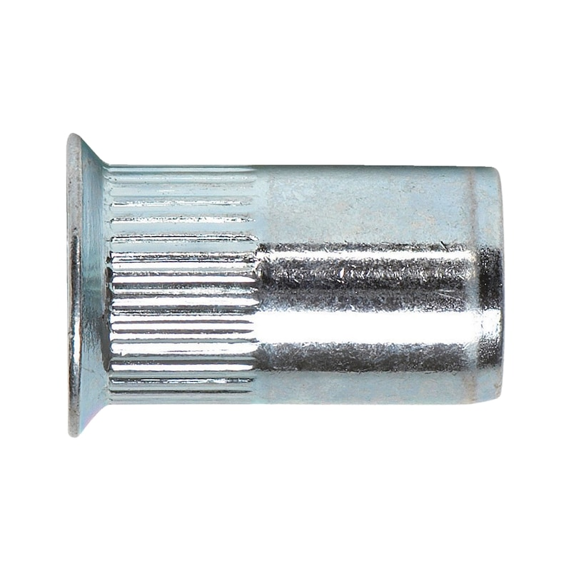Rivet nut with countersunk head and knurled shank - 1