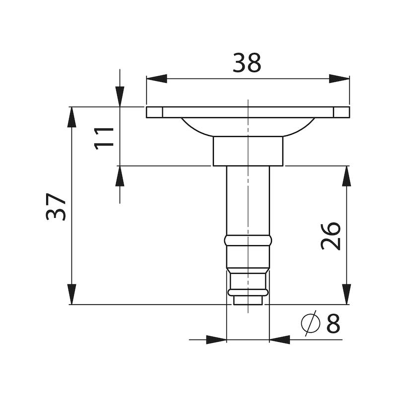 Прикруч. пластина 28 x 28 мм/38 x 38 мм - AY-SCREWPLATE-FRNLOK-38X38MM