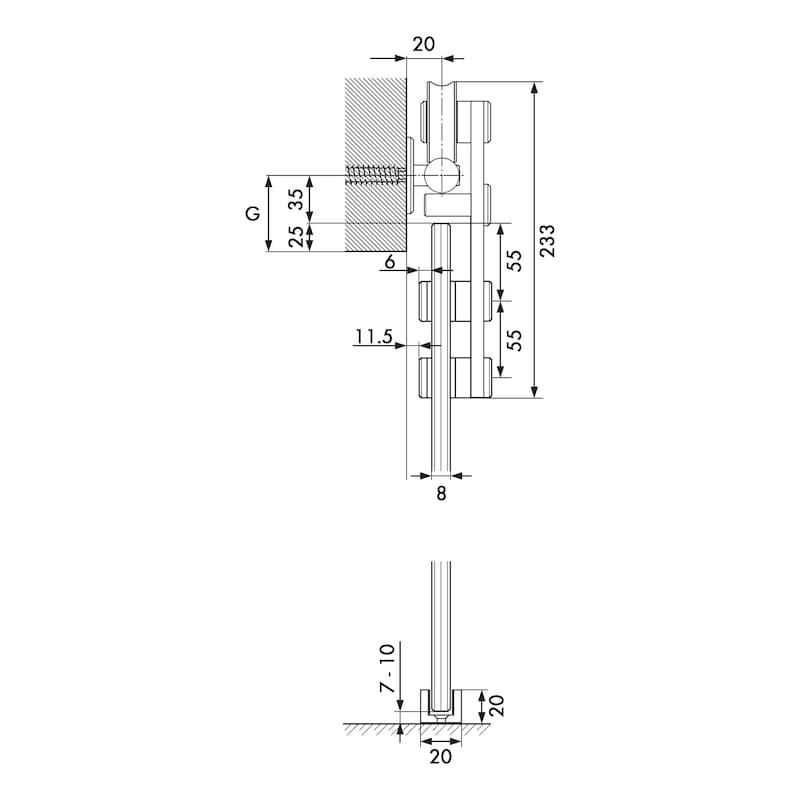 Zimmerschiebetürbeschlag VIDRO 101-G - 4