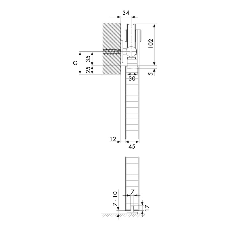 Zimmerschiebetürbeschlag VIDRO 102-H - 4