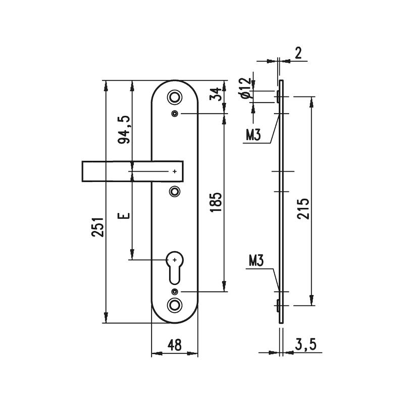 Edelstahl-Schutzbeschlag S 505 - SBS-A2-S505-ES1-DD-PZ-92-11-MATT