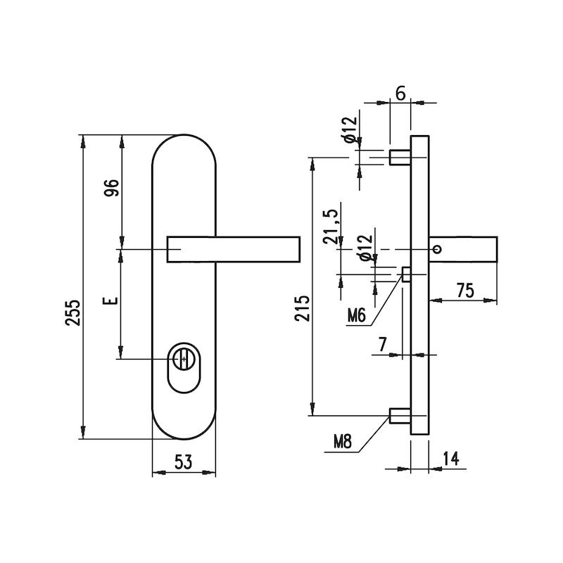 Edelstahl-Schutzbeschlag S 505 - SBS-A2-S505-ES1-DD-ZA-92-14-MATT