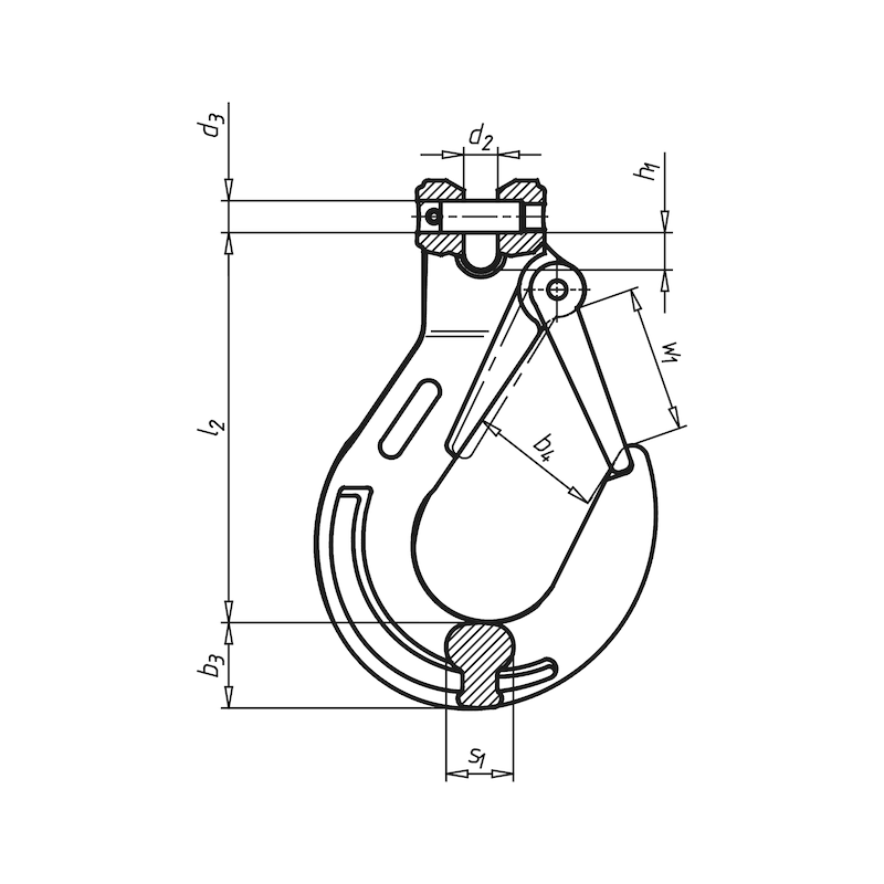 Gabelkopf-Lasthaken mit Schmiedefalle GK 8 - HAK-GBLKPF-KETT-FK8-(21,2T)-D26