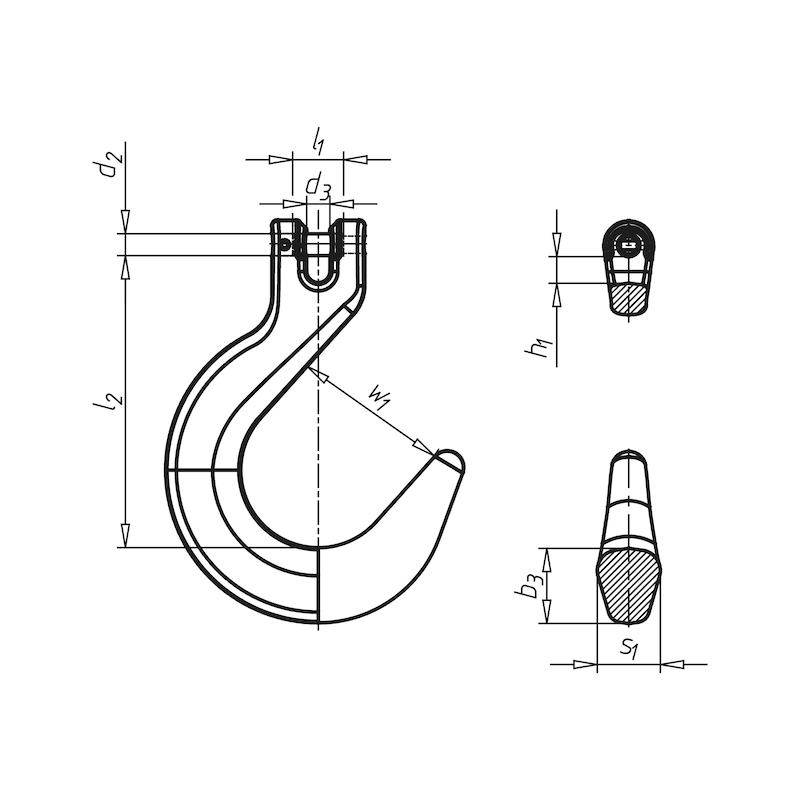 Gießereihaken mit Gabelkopf  GK 8 - GSREIHAK-GBLKPF-KETT-FK8-(5,3T)-D13