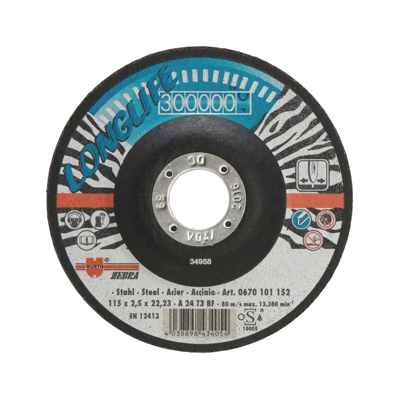 Longlife cutting disc for steel - CUTDISC-LL-BLUE-ST-SR-TH2,5-BR22,2-D180