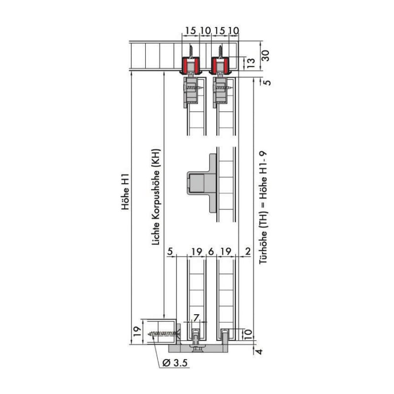 Möbelschiebetürbeschlag-Set redoslide M15-HC - SHIEBTRBSHLG-REDOSLID-M15-HC-2TR