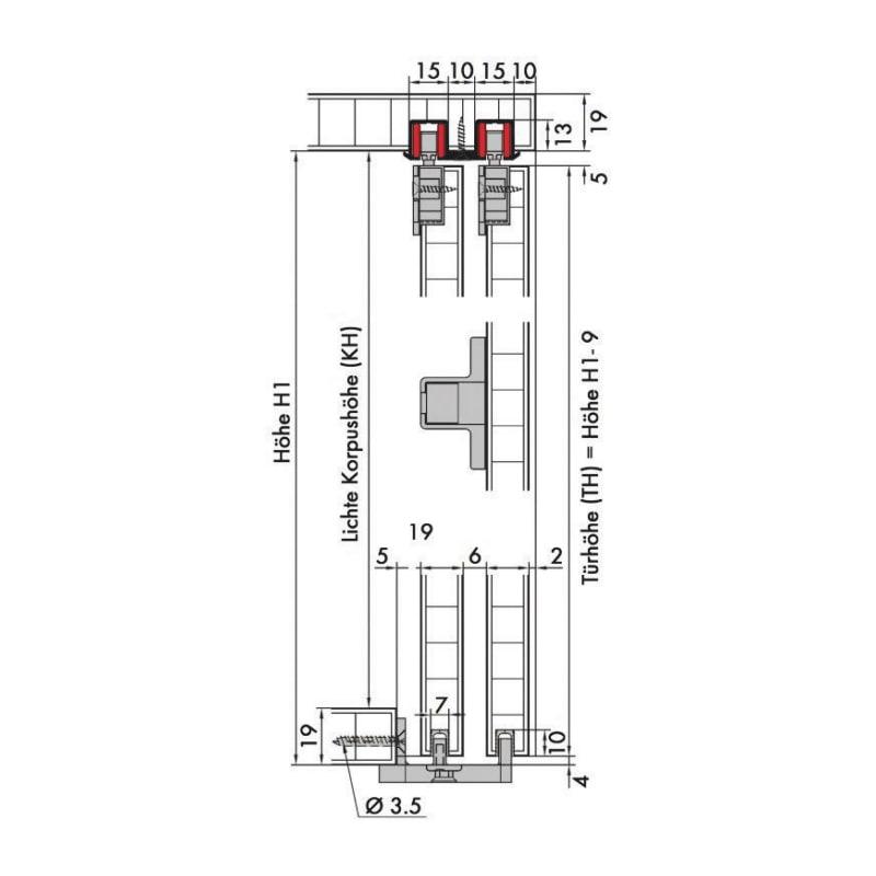 Möbelschiebetürbeschlag-Set redoslide M15-HC - 5