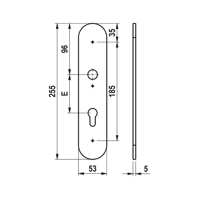Edelstahl-Schutzbeschlag S 505 - SBS-A2-S505-ES1-WE-ZA-72-14-MATT