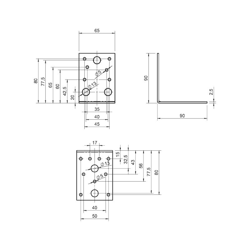 Winkelverbinder Typ A - WNKL-HOVERB-A-90X90X65X2,5