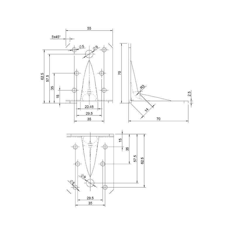 Winkelverbinder Typ A - WNKL-HOVERB-A-STEG-70X70X55X2,5