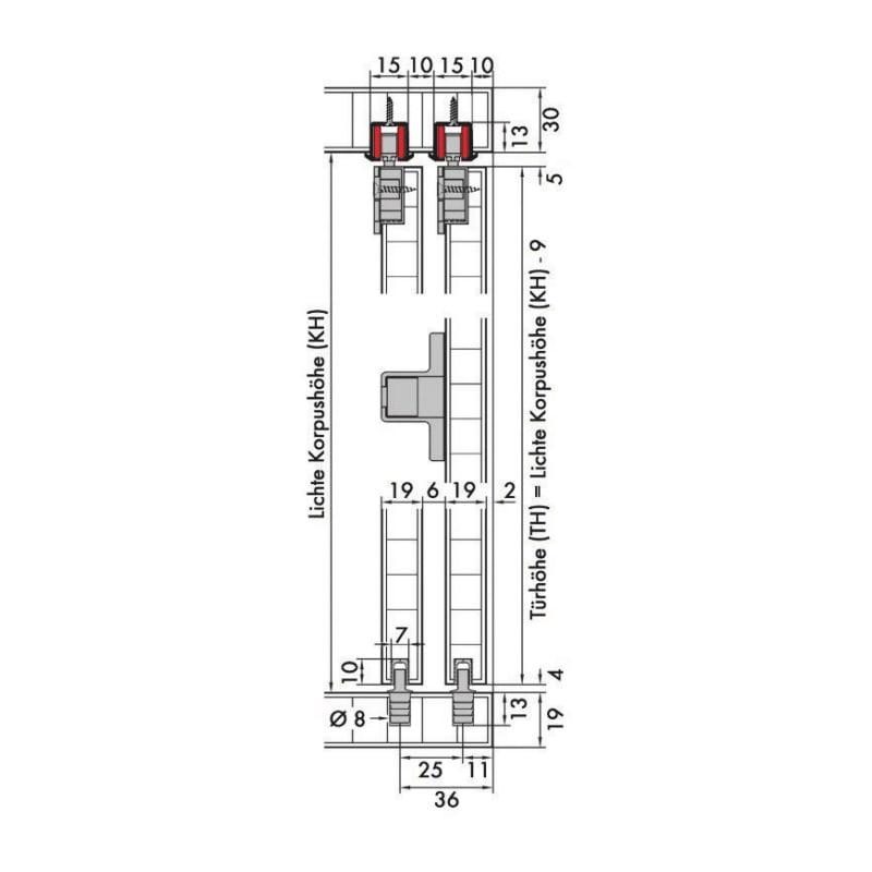 Schiebetürbeschlag-Set redoslide M15-HE - 4