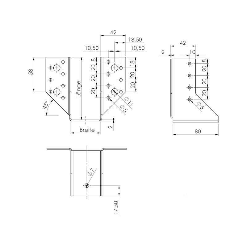 Balkenschuh Kombi 2,0 mm - BALKENSHH-KOMBI-(AUS-ABGEWI)-50X105X2,0