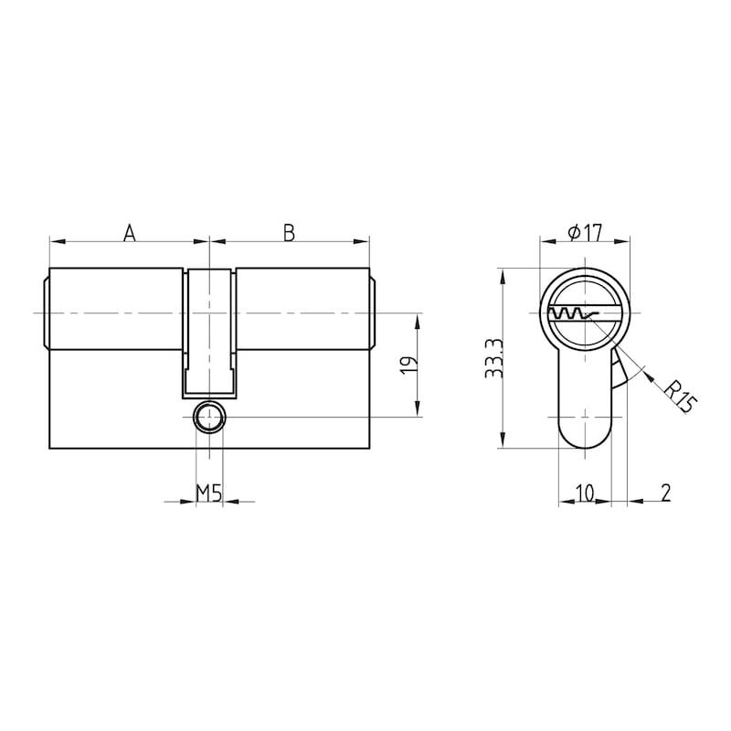 Profil-Doppelzylinder W6RK - DPZYL-W6RK-VS-GS-ERSTANL-(NI)-31,5X31,5