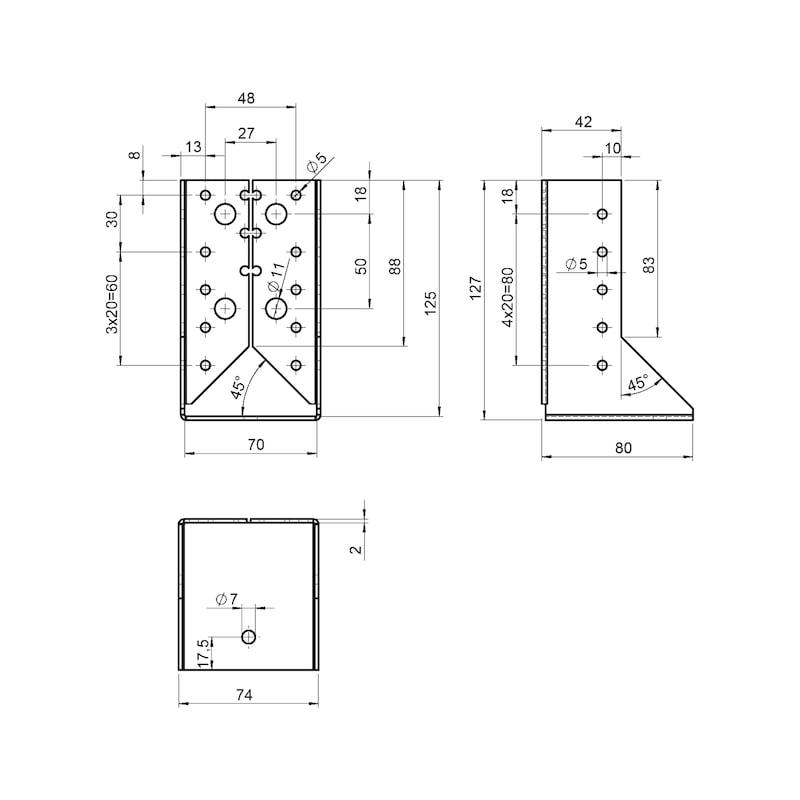 Joist hanger 2.0 mm - JOISTHNG-(INTCRANKED)-70X125X2,0