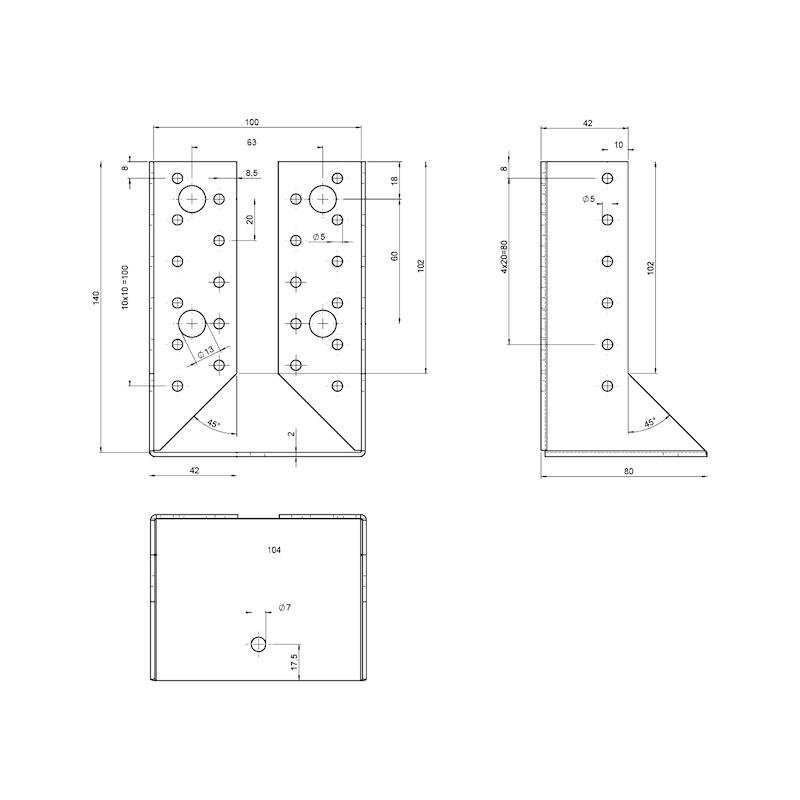 Joist hanger 2.0 mm - JOISTHNG-(INTCRANKED)-100X140X2,0