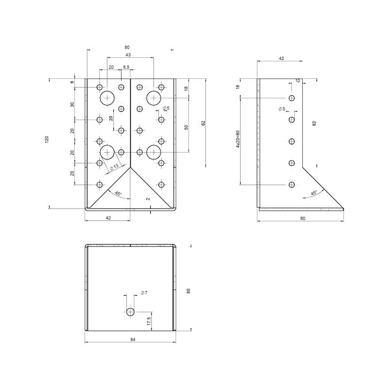 Balkenschuh 2,0 mm - BALKENSHH-(IN-ABGEWI)-80X120X2,0