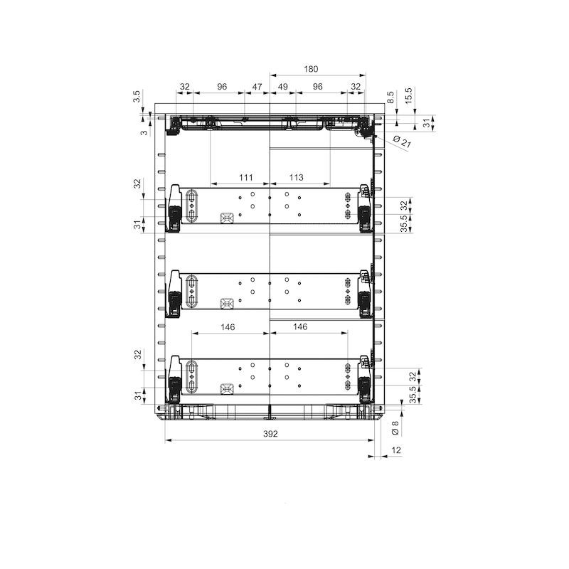 Bürocontainer-Ausstattungsset OrgaAer - ORGASYS-VA-KST-SCHWARZ-HE8,5-540MM