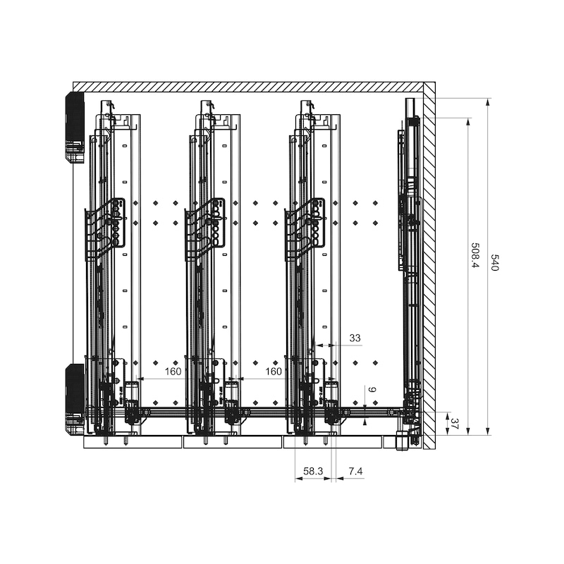 Bürocontainer-Ausstattungsset OrgaAer - ORGASYS-TA-KST-SILBERGRAU-HE8,5-740MM