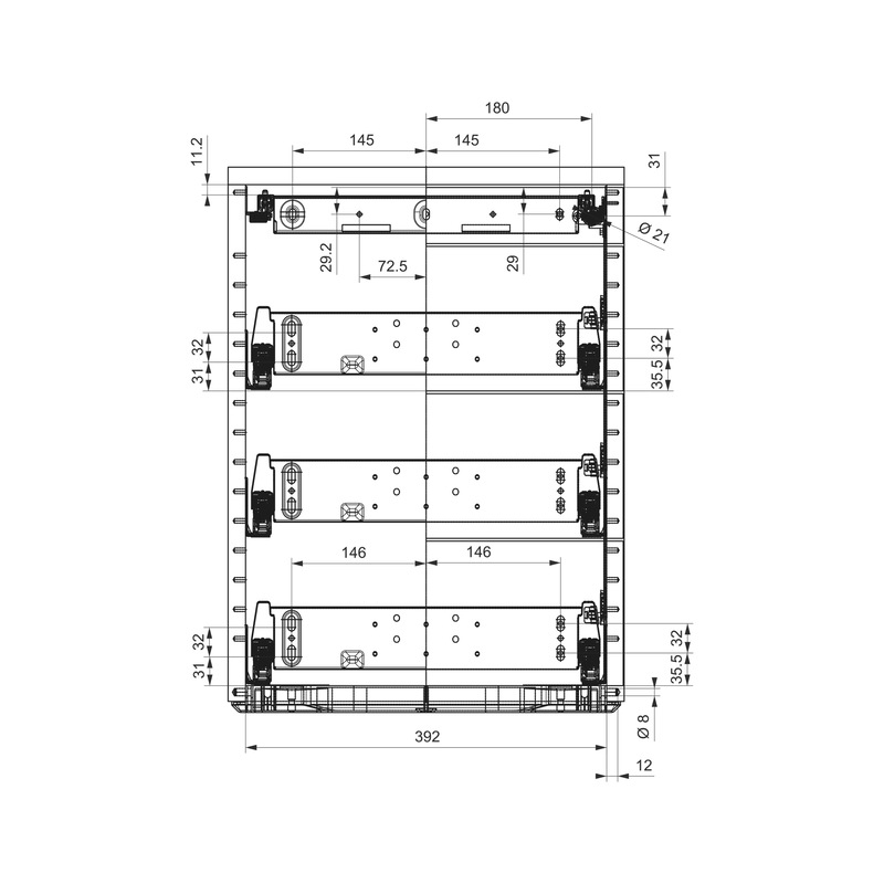 Bürocontainer-Ausstattungsset OrgaAer - ORGASYS-VA-ST-SILBERGRAU-HE8,5-740MM