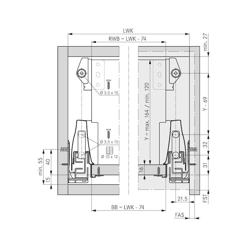 Halterset für variable Holzrückwand  DWD XP - ZB-HALTSET-DWD-RUECKW-(L120-164)